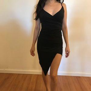 Dresses & Skirts - Plunging Asymmetrical Hem Mini Dress